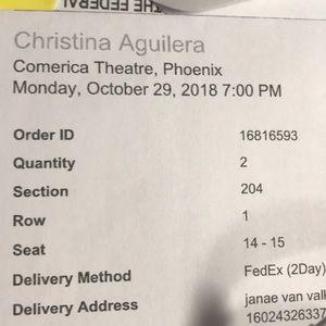 Christina Aguilera tickets Oct 29th at 7pm